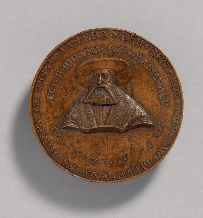 Model for a Medal: Portrait of Wolfgang Volkra (1480-1531) (obverse); Volkra coat-of -arms (reverse)