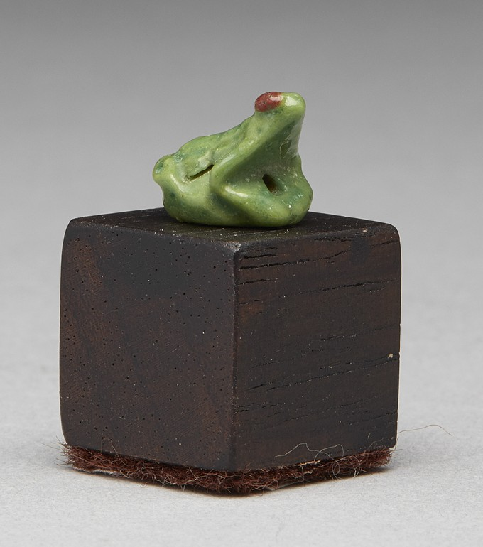 Egyptian Bright Apple Green Amulet of a Frog