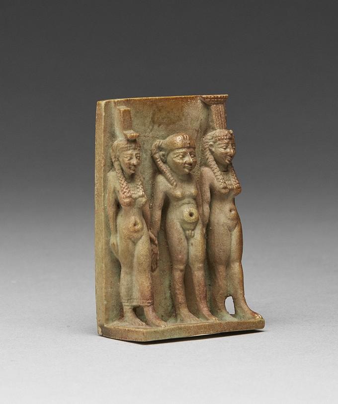 Faience Triad of Isis, Nephys, Horus