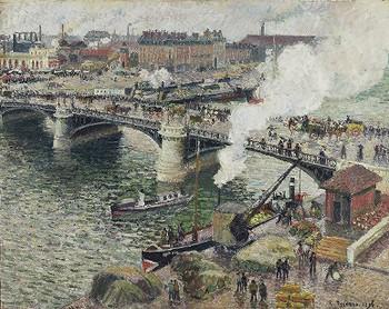 Le pont Boieldieu à Rouen, temps mouillé