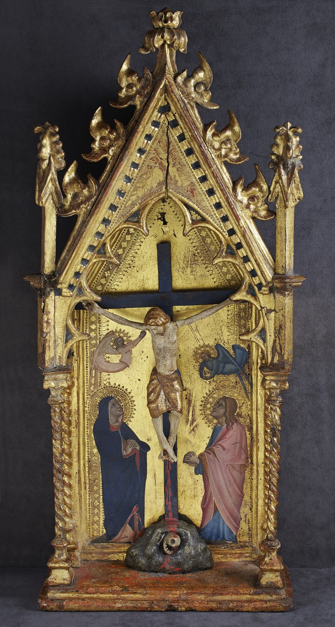Tabernacle with Crucifix and Mary and Saint John the Evangelist