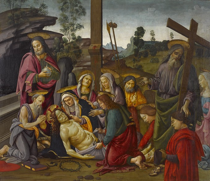 Lamentation with Saints and a Donor