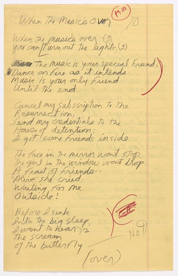 "Original lyrics for ""When the Music's Over"" and ""Strange Days"""