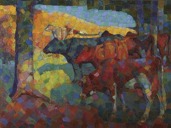 Untitled (Cows on a Hillside)