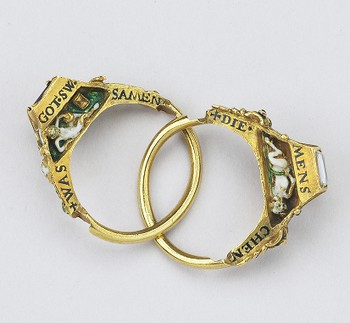 Gimmel (twin) Ring: Cherub with Hourglass, and Skull and Devil with Cloven Hoof