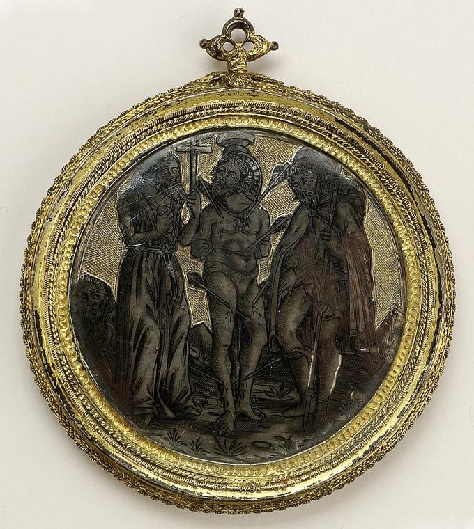 Roundel: The Lamentation (recto); The Martyrdom of St. Sebastian (verso)