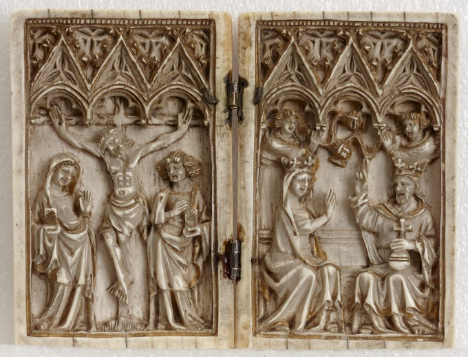 Ivory Diptych of the Crucifixion and Coronation of the Virgin