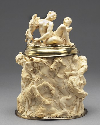 Covered Cup: Lion Hunt [based on the 1621 painting by Peter Paul Rubens]