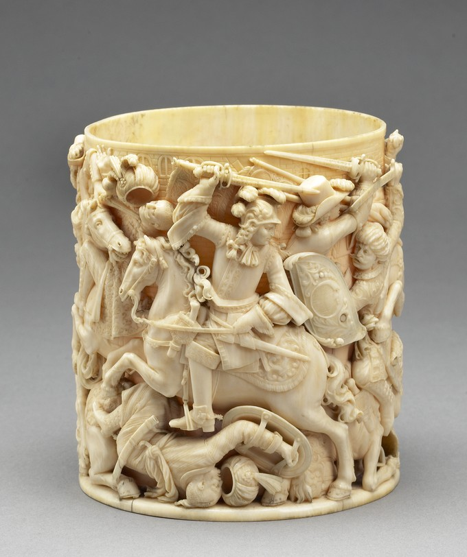 Tankard Cylinder: King Jan III Sobieski of Poland Defeating the Turks, and Kara Mustapha and a Turkish soldier in chains