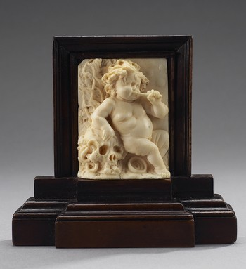 Allegory of the Transience of Life: Putto Blowing Bubbles with Decomposing Skull