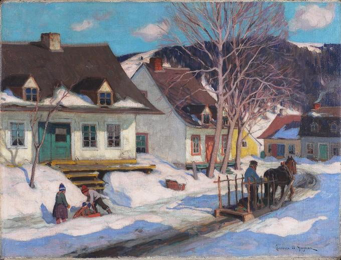 A Quebec Village Street, Winter